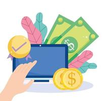 pagamento online efetivo via laptop vetor