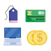 Conjunto de ícones de banco eletrônico, comércio eletrônico e pagamento online vetor