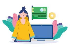 mulher com laptop e pagamento online com cartão de crédito vetor