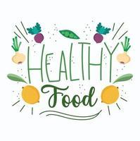letras de comida saudável fofa com ícones de produtos agrícolas vetor