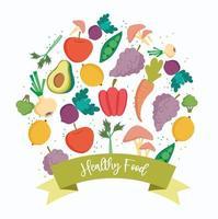 alimentos frescos saudáveis produzem ícones com um banner vetor