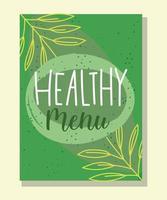 menu saudável letras modelo de banner verde vetor