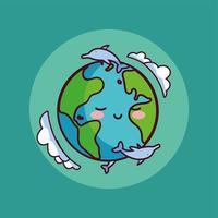 planeta Terra com golfinhos ao redor vetor