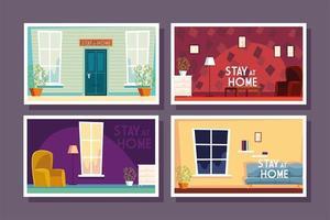 conjunto de cartões de casa com etiqueta fica em casa vetor