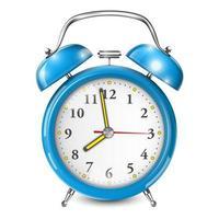 despertador azul isolado no branco vetor