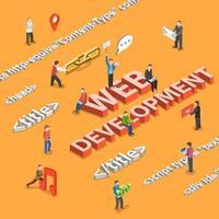 conceito de desenvolvimento web com personagens e tags html vetor