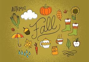 Ícones de outono desenhados à mão vetor