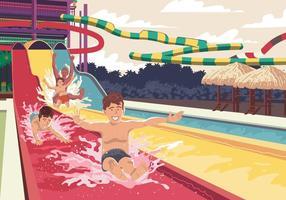 Criança no slide de água vetor