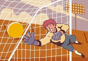 Goal Keeper pega a bola vetor
