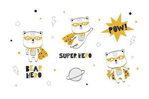 coleção bebê super-herói urso vetor