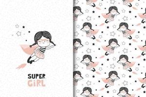 garota como um personagem de super-herói. vetor