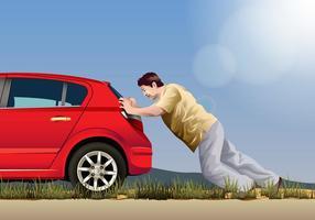 Homem do vetor empurrando um carro
