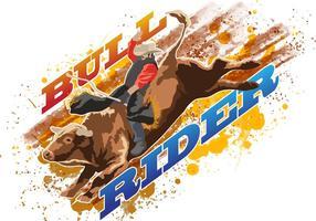 Cavaleiro de touro montando touro selvagem vetor