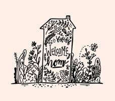 Rotulação de boas-vindas da mão desenhada vetor