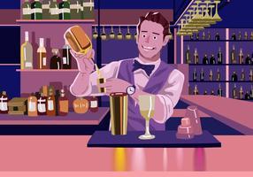 Barman do vetor que faz uma bebida