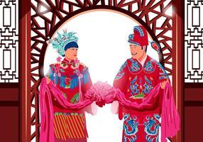 Vetor de casamento chinês tradicional