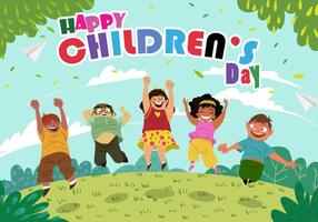 Feliz dia das crianças vetor