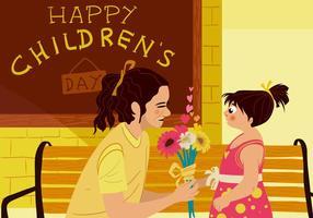 Mamãe agradece o dia das crianças vetor