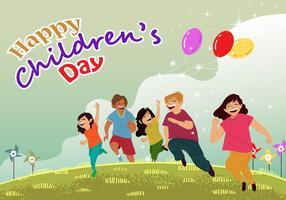 Vector do cartão do dia das crianças
