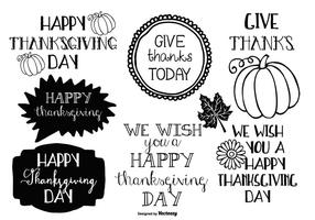 Etiquetas do Doodle de Ação de Graças vetor