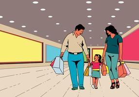 Feliz família fazendo compras juntos vetor