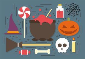 Colecção de vetores de elementos bruxos do Dia das Bruxas do caldeirão da bruxa