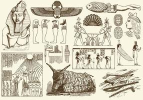 Sepia egipto arte vetor