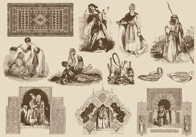 Ilustrações arabes marrons vetor