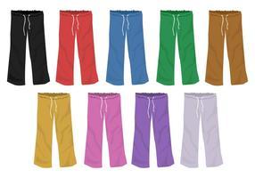 Conjunto de modelos de cores completas Design em branco de Sweatpants vetor