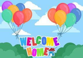 Bem-vindo ao texto de casa com Baloons de cor completa vetor