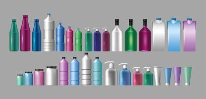 conjunto de materiais e estilos de garrafas de produtos
