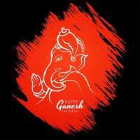 deus hindu lord ganesha festival card em fundo vermelho grunge vetor