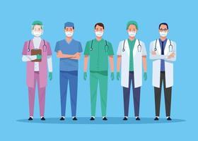 personagens de trabalhadores da equipe de saúde vetor