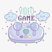 controlador de videogame com letras e nuvens vetor