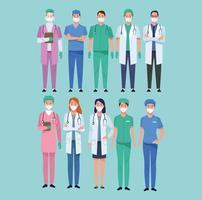 personagens de trabalhadores da equipe médica vetor