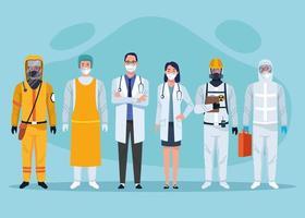 personagens do grupo de profissionais de saúde da equipe médica