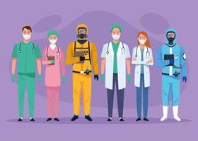 conjunto de personagens de profissionais de saúde da equipe médica