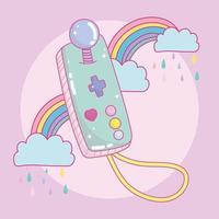 joystick controlador portátil de videogame com arco-íris vetor
