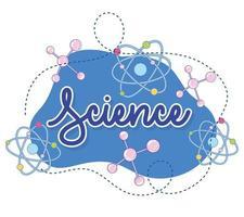 letras cursivas ciências e modelo de banner de ícones de laboratório vetor