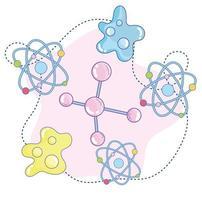 ciência temática com fundo de partículas de átomo vetor