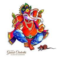 festival de design de cartão ganesh chaturthi com deus rato e elefante vetor