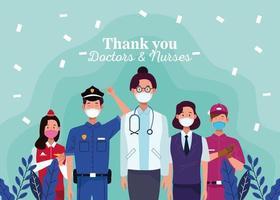 trabalhadores usando máscaras médicas com mensagem de agradecimento aos médicos e enfermeiras