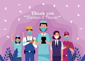 grupo de trabalhadores usando máscaras com mensagem de agradecimento aos médicos e enfermeiras