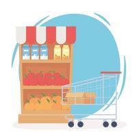 prateleiras abastecidas e carrinho de compras vazio