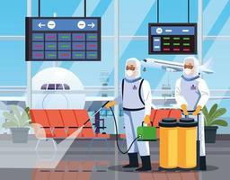 alguns trabalhadores de biossegurança desinfetam o aeroporto para o coronavírus