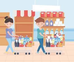 homem e mulher comprando mantimentos vetor
