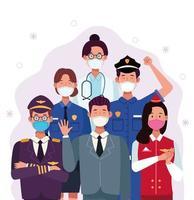 grupo de trabalhadores usando máscaras médicas vetor