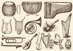 Instrumentos de música da orquestra do vintage