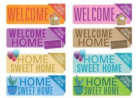 Banners de boas-vindas para casa vetor
