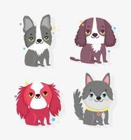 pacote de ícones de cachorrinhos fofos vetor